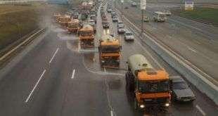 Промывку дорожных объектов на МКАД проведут с использованием дезинфекторов