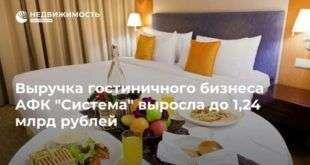 Выручка гостиничного бизнеса АФК «Система» выросла до 1,24 млрд рублей