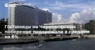 Гостиницы на Черноморском побережье подорожали в среднем на 8%